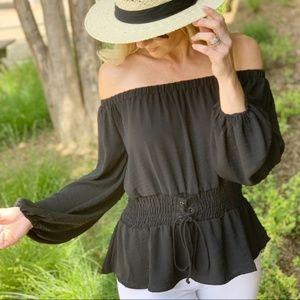 Black Corset Waist Tunic